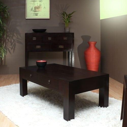 Table basse rectangulaire en acajou pas cher tikamoon blog - Tables basses rectangulaires ...