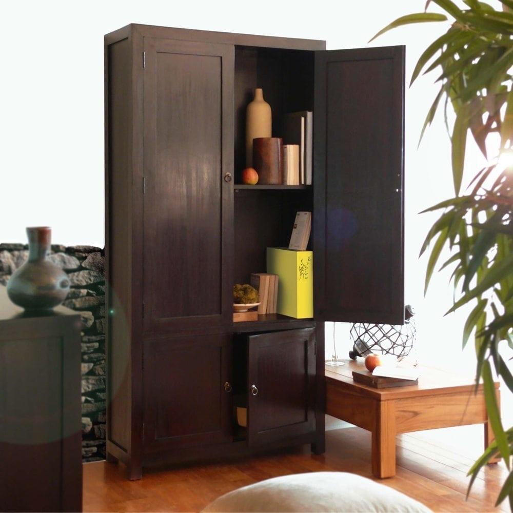 Armoire de bureau en acajou pas cher tikamoon blog for Transformer une armoire en bureau