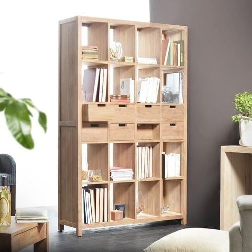 Biblioth que en teck design pour salon ou chambre tikamoon blog - Bibliotheque separation piece ...