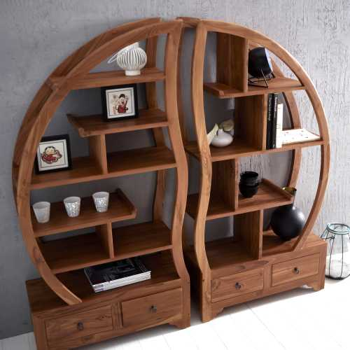 biblioth que ronde en teck orignale tikamoon blog. Black Bedroom Furniture Sets. Home Design Ideas