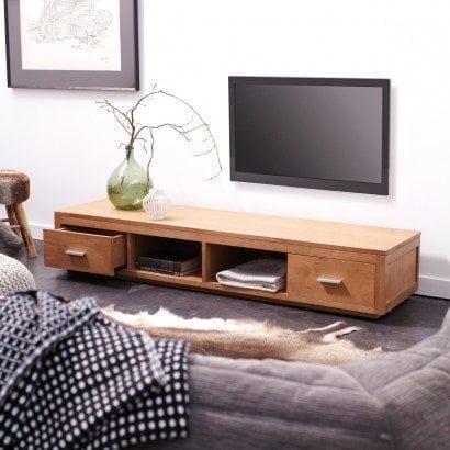 Un meuble tv en ch ne massif et moderne c est possible for Meuble tele chene